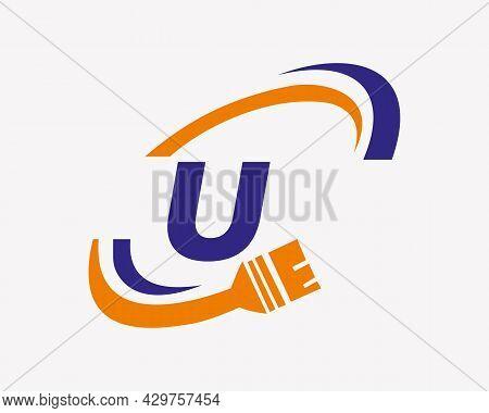 Paint Logo With U Letter Concept. U Letter House Painting Logo Design