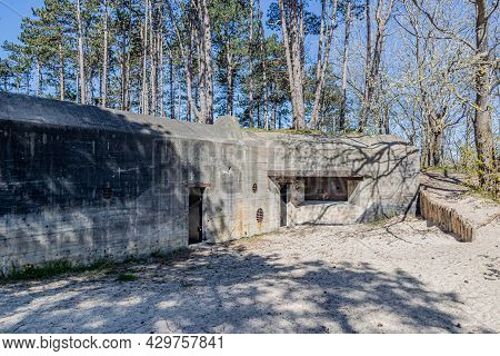 Abandoned Bunker From Wwii, Called The Walvisbunker Because Of Its Whale Shape, Forming Part Of The