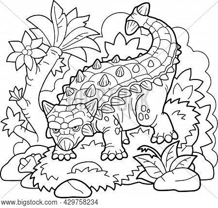 Cartoon Prehistoric Dinosaur Ankylosaurus, Coloring Page, Outline Illustration