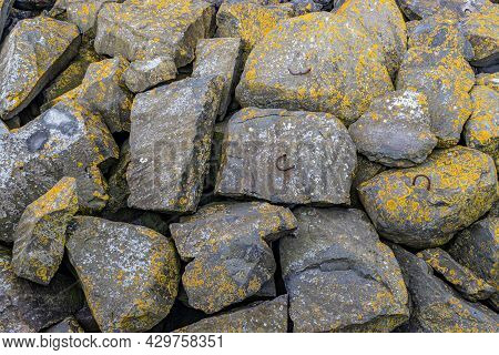 Close-up Of Mossy Stones On A Breakwater Along The Delta Works. Rhine-meuse-scheldt Delta, Sunny Day