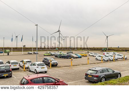 South Holland And Zeeland, Netherlands. April 28, 2021. Cars Parked In The Delta Works Parking With