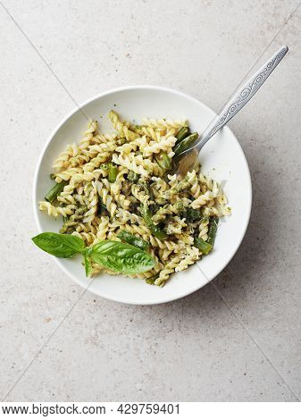 Fusilli Pasta With Green Beans, Pesto And Basil.