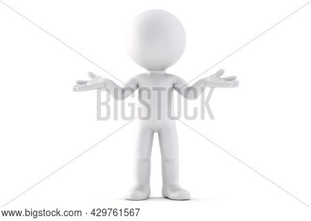 Doubter. 3d Illustration. Isolated Over White Background
