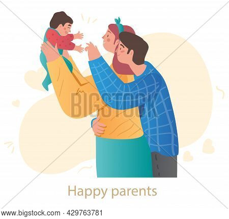 Young Couple Is Holding Newborn Baby Up Above On White Background. Happy Family Is Showing Love And