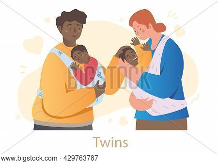 Male And Female Characters Are Holding Newborn Twins In Slings On White Background. Happy Family Is