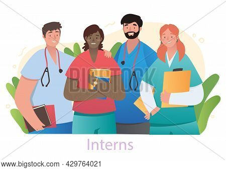 Smiling Male And Female Medical School Interns Are Standing Together In Lab On White Background. Gro