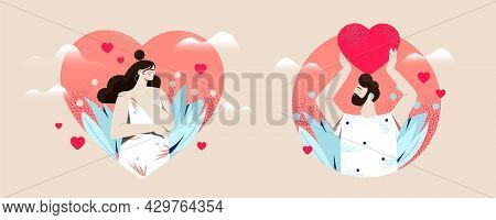 Male And Female Characters In Hearts Are Showing Self Love On Pastel Background. Concept Of Loving Y
