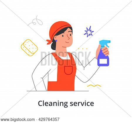 Cheerful Female Cleaning Company Member Is Cleaning Premise With Spray On White Background. Concept