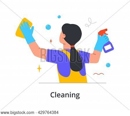 Female Cleaning Staff Member Is Cleaning Window With Spray And Wipes With Spray On White Background.