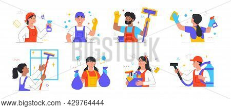 Set Of Male And Female Cleaning Company Staff Characters Are Cleaning Houses And Other Premises On W