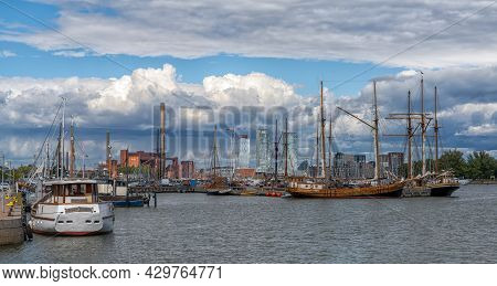 Helsinki, Finland: 4 August, 2021: Many Old Sailboats Moored In The Harbor Of Helsinki In Southern F