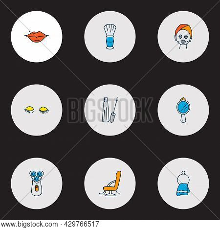 Barbershop Icons Colored Line Set With Electric Shaver, Towel, Shaving Brush And Other Appliance Ele