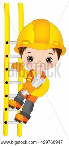 Vector Cute Little Boy Climbing Up The Ladder And Holding Construction Drawings. Little Brunette Boy