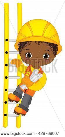 Little Curly Boy Wearing Construction Uniform.vector Cute Little African American Boy Climbing Up Th