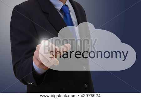 Businessmann Touching Shareconomy Symbol