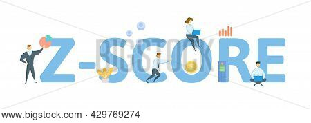 Z-score. Concept With Keywords, People And Icons. Flat Vector Illustration. Isolated On White.