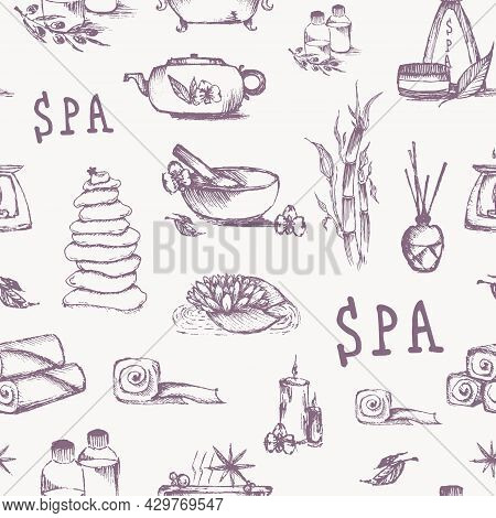 Vector Spa Background Template Isolated. Doodle Spa Elements, Seamless Pattern, Vector Illustration.