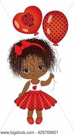 Vector Cute Little African American Girl Wearing Polka Dot Dress. Black, Curly Girl Holding Air Ball