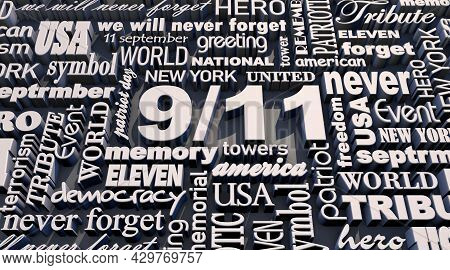 3d Rendering Patriot Day. Usa Patriot Day 9.11 Text Effect In Detail