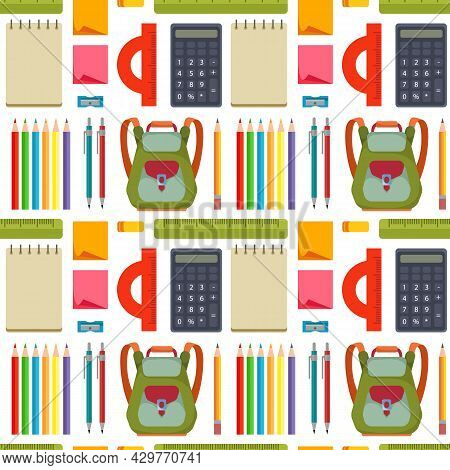 Seamless Pattern With School Supplies, Pencils, Backpacks, Pens, Notepads, Calculators. Cartoon Vect