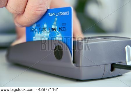Close Up Of Pay Money Credit Card For Spending Money With Payment Pos Terminal. Transaction Pay And
