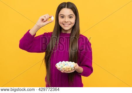Happy Teen Girl Holding Quail Eggs. Happy Easter. Childhood Happiness. Child On Egg Hunt.