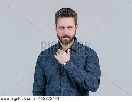 Bearded Man Wear Fashion Shirt In Casual Style For Informal Occasion Grey Background, Outfitting