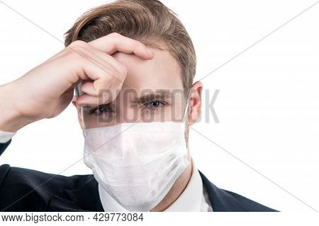 Covid19 Prevention. Boss Man In Medical Mask During Coronavirus Quarantine. Avoid Pandemic Spread.