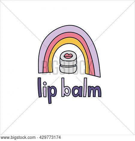 Lip Balm Hand Drawn Doodle Lettering. Vector Illustration. Beauty Products And Skin Care Concept.