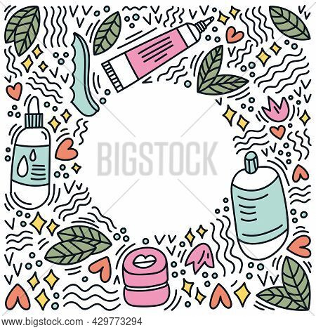 Korean Cosmetics Sketch Drawing. Round Frame With Doodle Elements. Cream, Serum, Tonic, Lip Balm. Sk