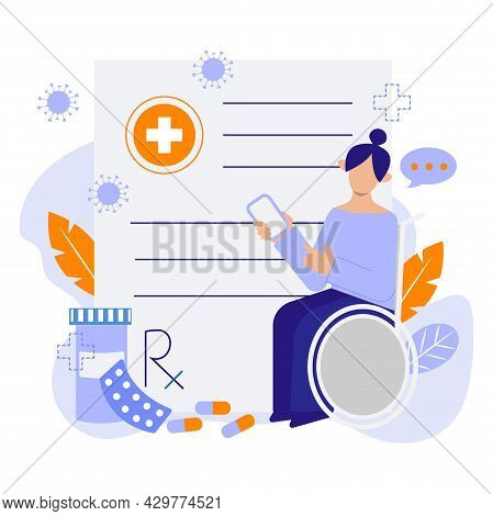 Online Prescription Vector Concept Illustration. Online Prescription Is A Comfortable Way To Get Med