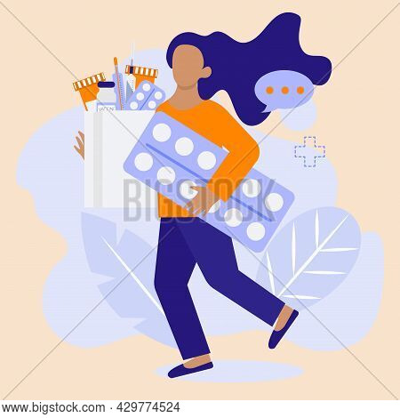 Woman Is Holding Pills Set For Treatment. Vector Illustration In Modern Flat Cartoon Style. Drugstor