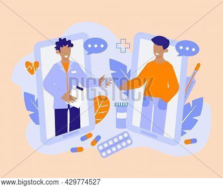 Online Prescription Vector Concept Illustration. Doctor And Patient Online Chat. Doctor Gives Treatm