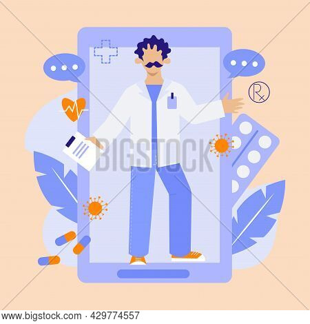 Online Prescription From Doctor. Doctor Gives Prescription Via Smartphone. Vector Flat Illustration