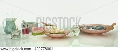 Spa Concept: Composition Of Spa Treatment With Natural Aromatic Oil, Clay, Spa Stone On Light  Backg