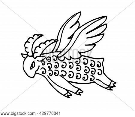 Decorative Magic Sheep Flying On Wings, Farm Animal, Cloud And Soul Concept, Color Vector Illustrati