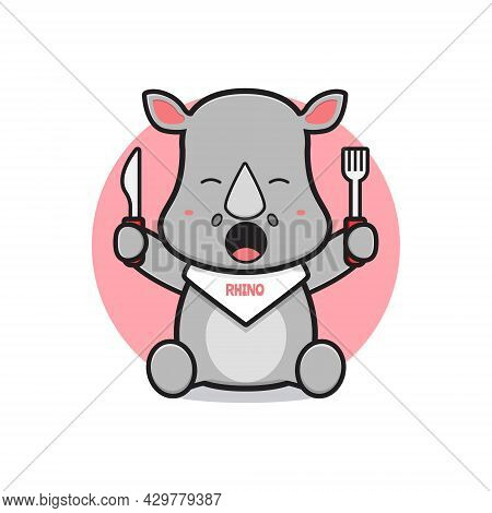 Cute Rhino Ready To Eat Cartoon Icon Illustration. Design Isolated Flat Cartoon Style