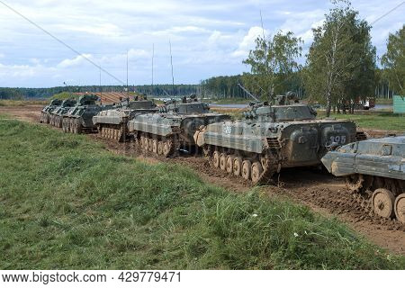 Moscow Region, Russia - August 27, 2021: A Column Of Russian Military Equipment For A Demonstration