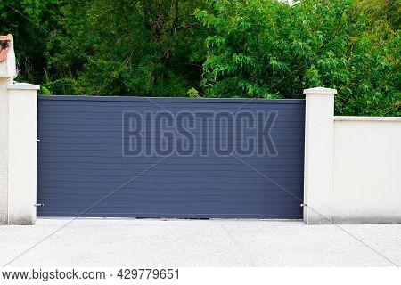 Aluminum Grey Steel Sliding Gray Metal Slide Gate Of Modern Suburb House Entrance