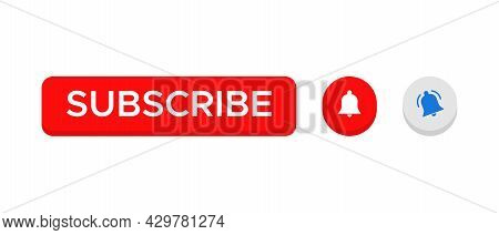 3d Subscribe Button Vector with Ringing Bell Icon