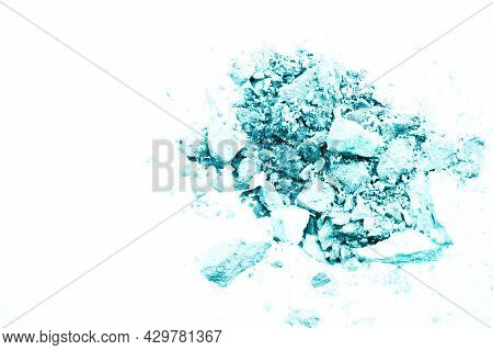 Powder Cosmetics, Mineral Organic Eyeshadow, Blush Or Crushed Cosmetic Product Isolated On White Bac