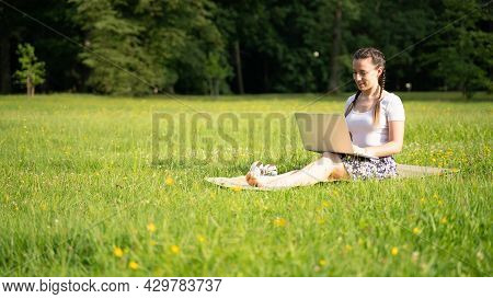 Laptop, Computer Business Technology. Student Girl Working On Tablet In Summer Nature Park. People P
