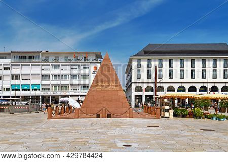 Karlsruhe, Germany - August 2021: Pyramid At Market Square Erected Over Vault Of The City's Founder