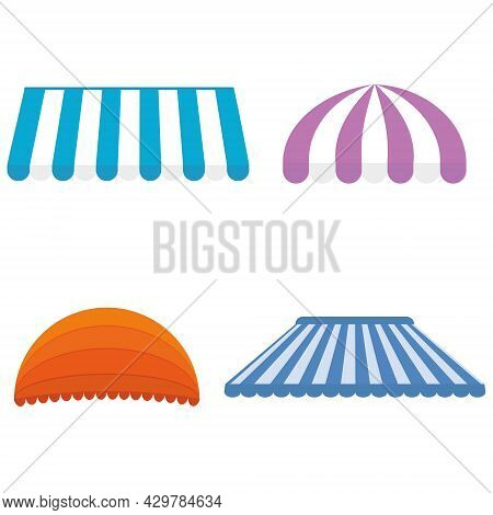 Canopy Design Illustration Set, Color Isolated Illustration On White Background.
