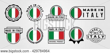 Vector Set Of Made In Italy Label Badge Bundle Symbol Illustration Design, Made In Italy Emblem Logo