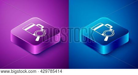 Isometric Airline Service Of Finding Lost Baggage Icon Isolated On Blue And Purple Background. Searc