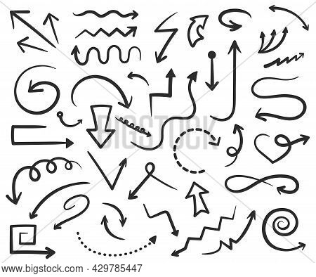Hand Drawn Arrows Doodles, Black Arrow Drawing. Straight And Curved Pointers, Up Or Down Direction L