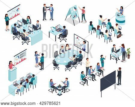 Isometric Business Training Or Coaching, Office Conference Meeting. Businessman Giving Presentation,
