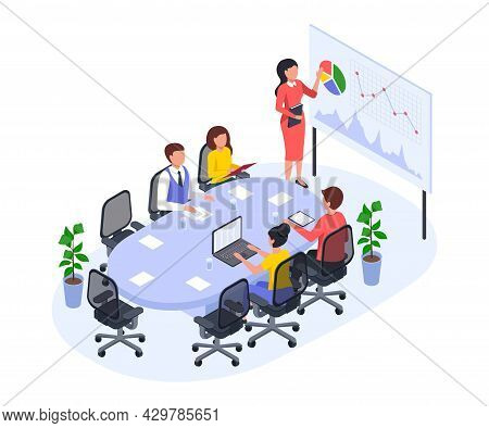 Isometric Office Meeting, Business Team In Conference Room. Businesswoman Giving Presentation, Discu