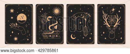 Magic Spiritual Tarot Cards With Mystic Occult Symbols. Vintage Engraved Boho Esoteric Tarot Card Wi